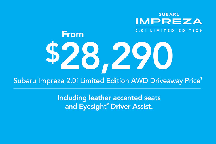 Cruise with your friends in advanced Subaru Impreza style in the new Impreza 2.0i AWD Limited Edition! T&C's apply.
