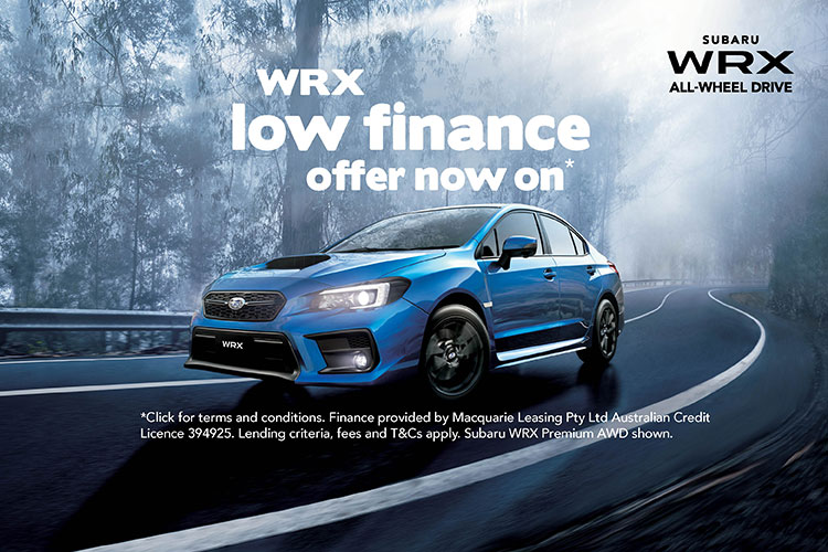 Right now is your chance to experience Subaru WRX AWD, with a low 1.99% P.A. comparison rate¹ finance offer: 10% deposit required, 36 month maximum term and approved applicants only. Click below for important comparison rate warning and full T&Cs.