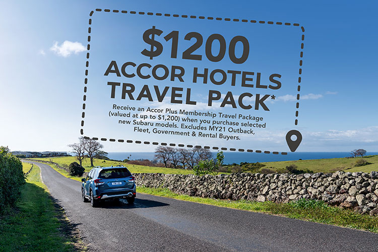 Buy a brand new Subaru right now and receive an Accor Plus Membership Travel Pack valued at up to $1200*. Offer excludes MY21 Outback.